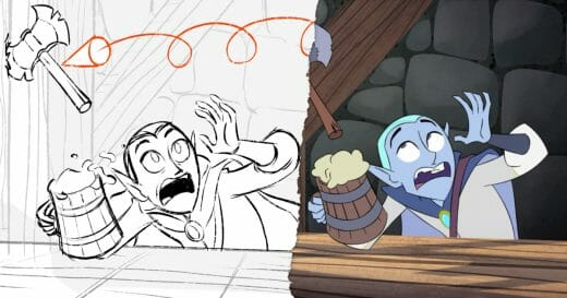 Storyboard and final animation of a wizard ducking to avoid a throwing axe.