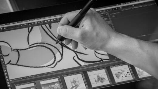 Image of a storyboard artist working in Storyboard Pro.